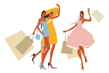 sexuality: Pretty women with shopping bags on the background of the store Illustration