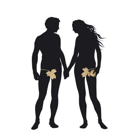 adam and eve: Adam and Eve with Golden Apple Illustration