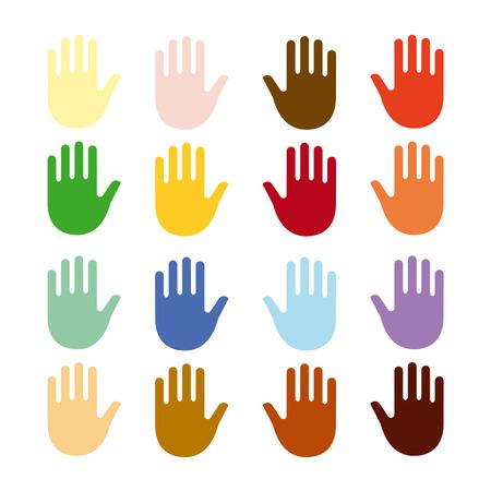 multinational: Human Hand Set Illustration