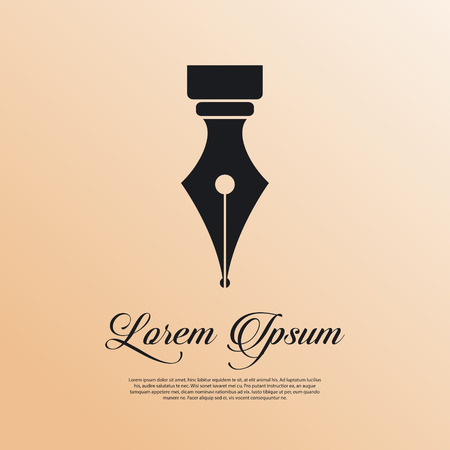 Fountain pen icon vintage style Illustration