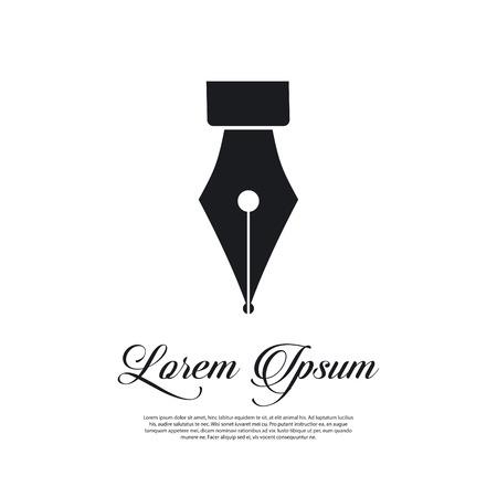Penna stilografica icona di stile vintage Vettoriali