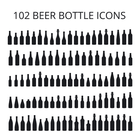 102 beer bottle icons set. All types of beer bottles Vectores