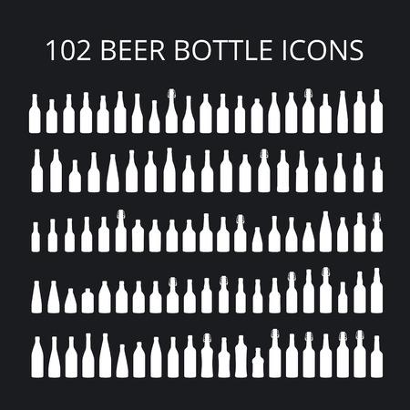 frothy: 102 beer bottle icons set. All types of beer bottles Illustration