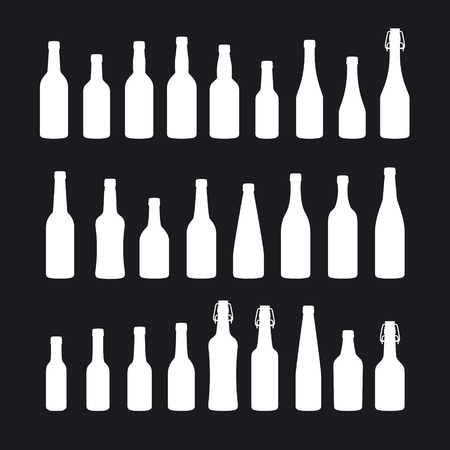 Beer bottle icons set. Various types of beer bottles.