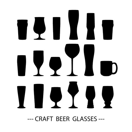 pint glass: Craft beer glass icons set