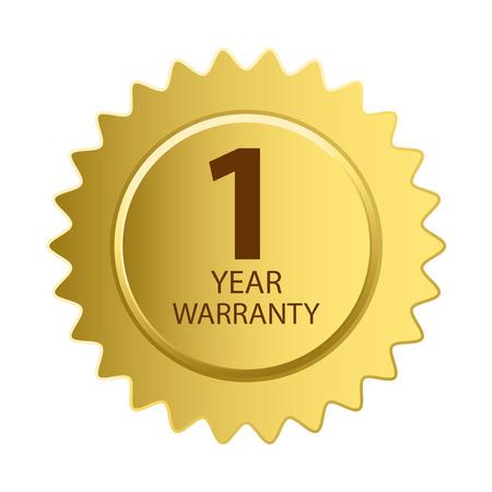 Warranty Icon. 1 Year Warranty Gold Label. Vectores