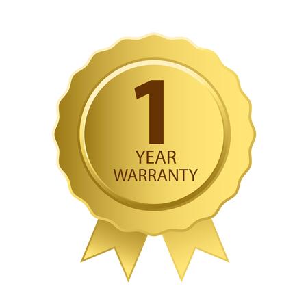 warranty: Warranty Icon. 1 Year Warranty Gold Label. Illustration