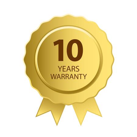 warranty: Warranty Icon. 10 Years Warranty Gold Label. Illustration