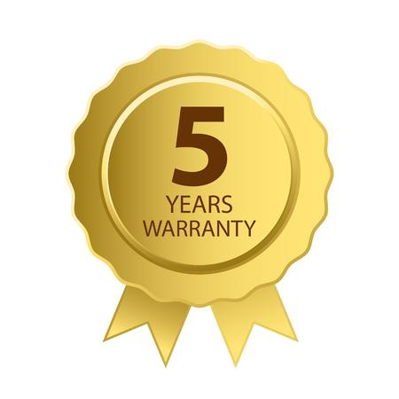 Warranty Icon. 5 Years Warranty Gold Label.
