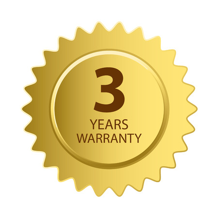 Warranty Icon. 3 Years Warranty Gold Label. Vectores