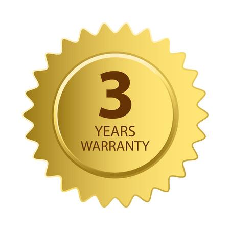 warranty: Warranty Icon. 3 Years Warranty Gold Label. Illustration