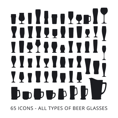 types of glasses: 65 beer glass icons set. All types of beer glasses. Illustration