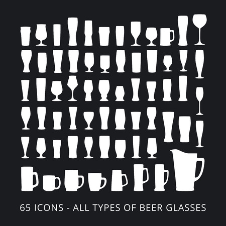 65 beer glass icons set. All types of beer glasses. Vectores
