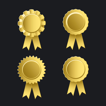 Gold badge label with ribbons icon set. Vectores