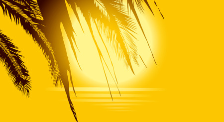 Luxury golden background with palm trees, sun and sea on a hot afternoon.