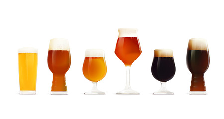 Beer Glasses Set. Different types of beer
