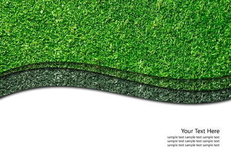 Green grass isolated with curve white line Stock Photo - 10133873