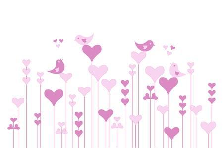 lovebirds: Abstract pink heart garden with lovebirds on white, vector illustration