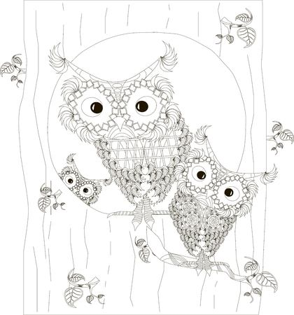 , stylized black and white owls family sitting in the hollow and on branches of tree trunk, hand drawn, vector illustration