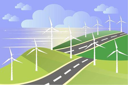 green fields: White windmills on green fields, sea coast, blue sky, grey road, vector Illustration