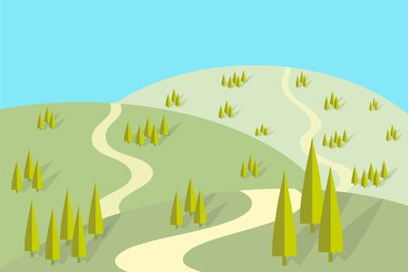Field road on the hills, groups of trees with shadows, flat design, vector illustration