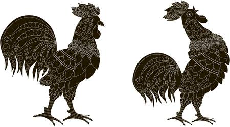 Black silhouettes with white ornaments of a rooster stands and the rooster crows, vector illustration Illustration