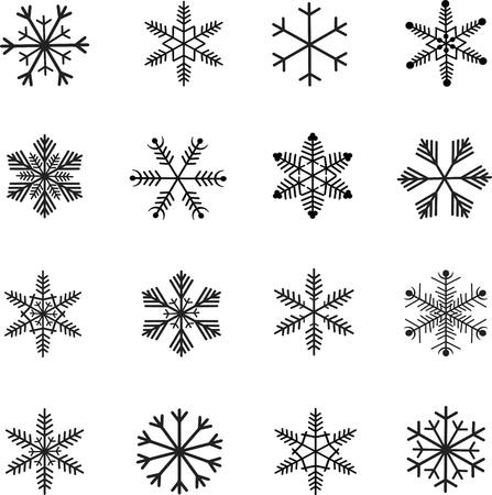 yea: Snow-flakes icon set, black and white vector illustration Illustration