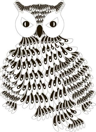 Stylized black and white owl with folded wings, hand drawn, vector illustration
