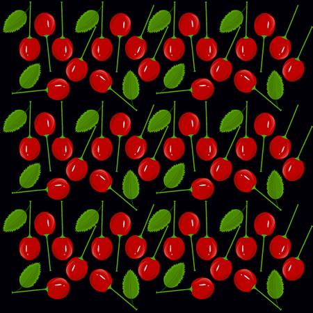 Seamless texture with red painting cherry fruits on black background, vector illustration