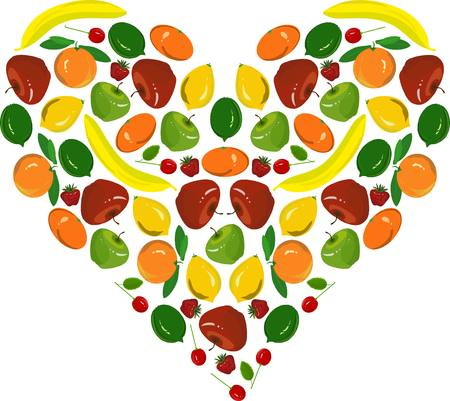 curare teneramente: Pittura di cuore di frutta, banane gialle, i limoni, mele rosse, a cuore, fragola, calce verdi su fondo bianco, illustrazione vettoriale