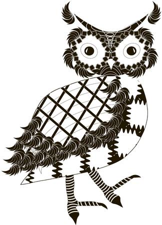 Stylized black and white owl, hand drawn, vector illustration
