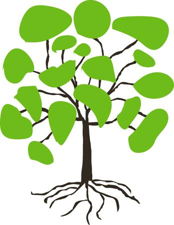 hand drawn tree: Stylised hand drawn tree with green crown on white, vector illustration