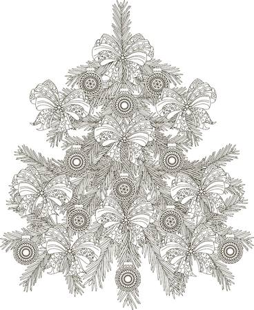 Hand drawn black and white sketch Christmas tree, vector illustration