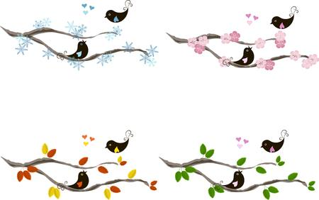 Cute lovebirds on branches, hearts, for seasons, colorful vector illustration Illustration