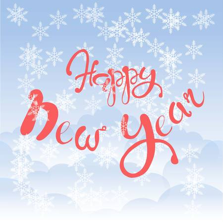 Red lettering Happy New Year on blue sky background, white cloud, snow-flakes, vector illustration