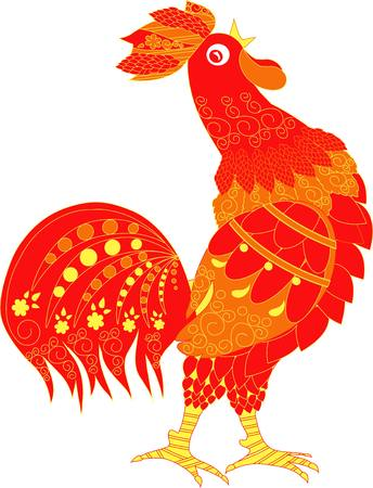 roster: Red cartoons roster with ornaments, cock crow hand drown vector illustration