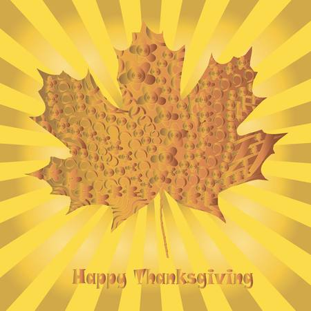 rises: Congratulation card Happy Thanksgiving. Stylized ornamental gold maple leaf on yellow rises background, vector illustration Illustration