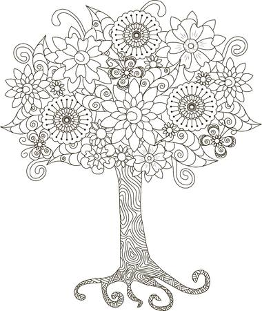 tree: Blooming tree for coloring book, anti-stress vector illustration