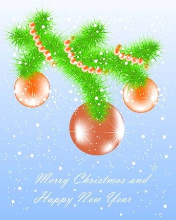 christmas fur tree: Congratulation card Merry Christmas and Happy New Year, green branch fur tree, red balls on blue background, vector illustration