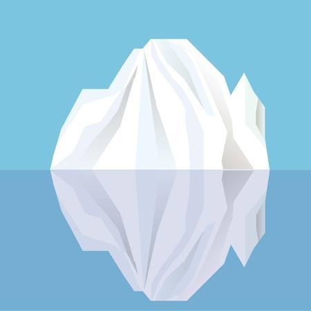 White iceberg reflecting in blue water, vector illustration