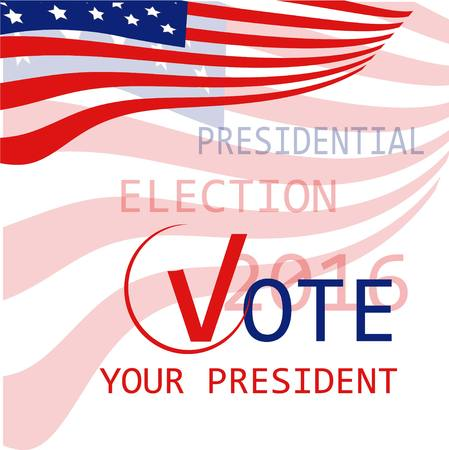 USA flag background Vote your president, presidential election 2016, vector illustration Ilustrace
