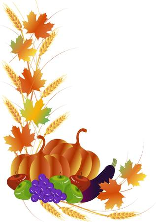Thanksgiving Day angled pattern from pumpkins, eggplant, bunch of grape, apples, wheat, vector illustration