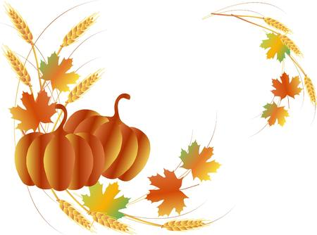 Thanksgiving Day angled pattern from pumpkins, maple leafs, wheat, vector illustration