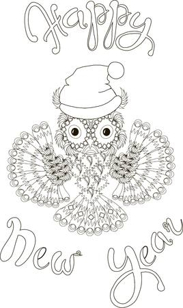flaying: Lettering Happy New Year, hand draw stylized flaying owl, black and white hand drawn vector illustration