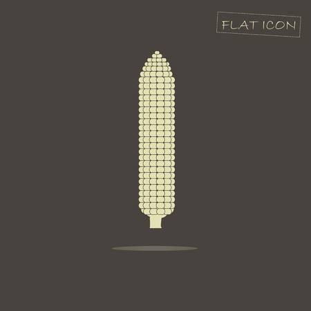 corne: Light cob of corn on black, vector illustration Illustration
