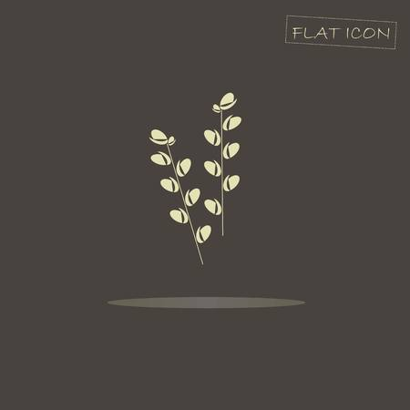 willow: Light blooming willow candles on black, flat icon vector illustration Illustration