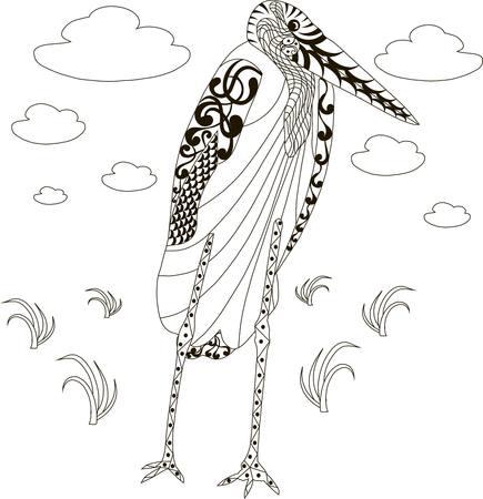 african stork: Hand drawn african marabou stork, black and white anti stress vector illustration Illustration