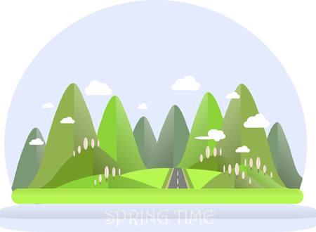 Spring mountain landscape. Green hills, blue sky, white clouds, pink trees, grey highway. Flat design, stock vector illustration