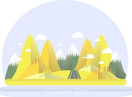 Autumn mountain landscape. Yellow hills, blue sky, white clouds, orange trees, grey highway. Flat design, stock vector illustration Illustration