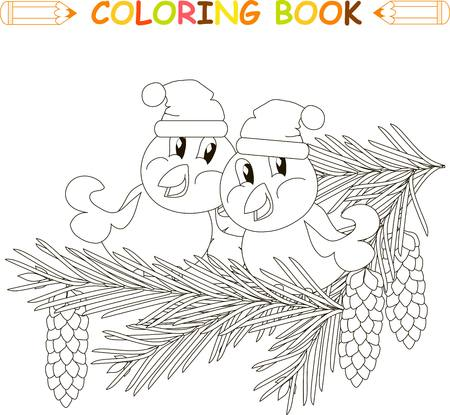 two birds: Two birds in hats sitting on fir branches with cones, anti stress black and white vector illustration